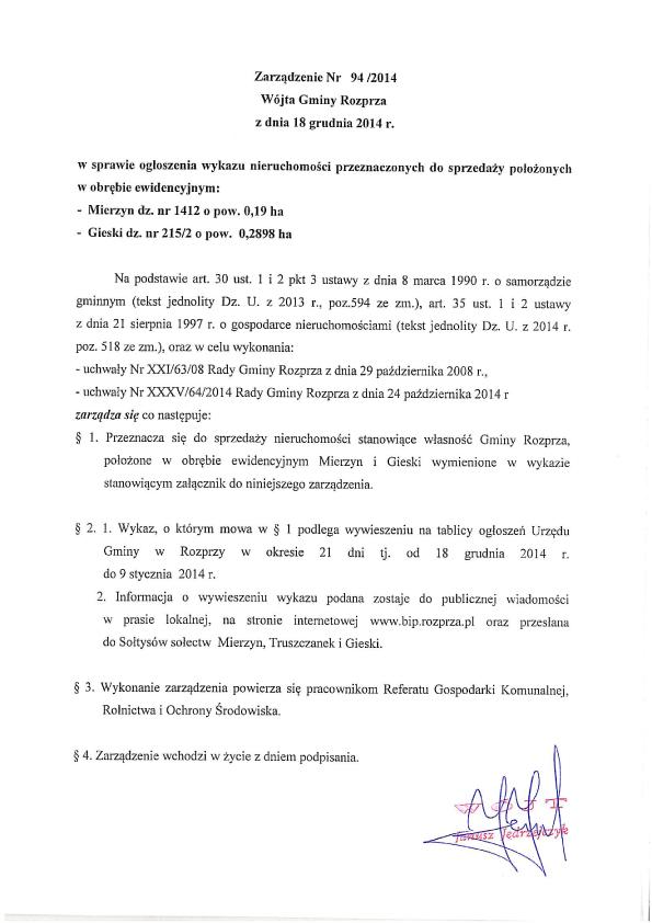 Zarządzenie Nr 94 Wójta Gminy Rozprza z dnia 18 grudnia 2014r1.jpeg